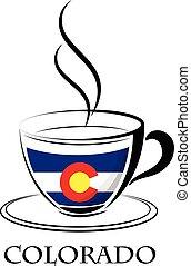 logo, café, fait, drapeau, colorado