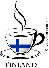 logo, café, fait, drapeau, finlande