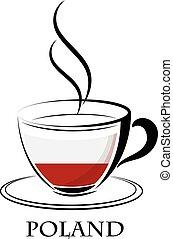 logo, café, fait, drapeau, pologne