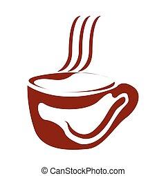 logo, café, isolé, grande tasse