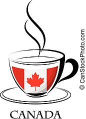 logo canada, café, fait, drapeau