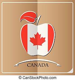 logo canada, drapeau, fait, pomme