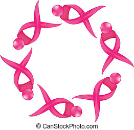 logo, cancer, ruban, conscience, poitrine