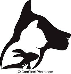 Logo Cat dog rabbit and bird