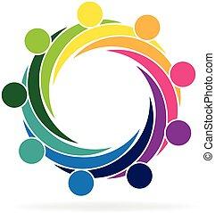 logo, cercle, étreinte, collaboration