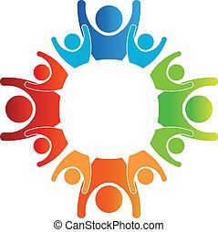 logo, cercle, familles