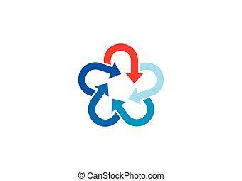 logo, cercle, vecteur, étoile, flèche