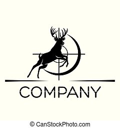 logo, cerf, chasse