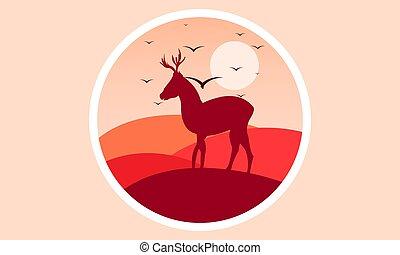 logo, cerf, coucher soleil