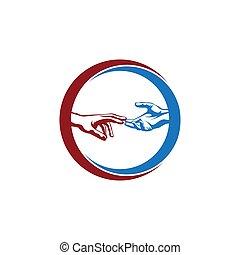 logo, chaque, mains, autre, cercle, deux, illustration, atteindre