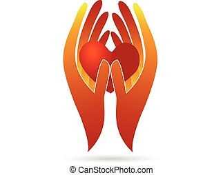 logo, charité, heart., tenant mains