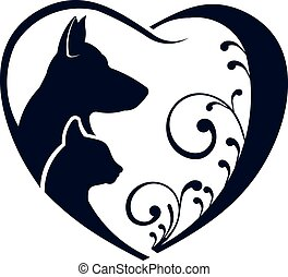 logo, chat, amour, chien, coeur