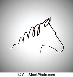 logo, cheval, dessin