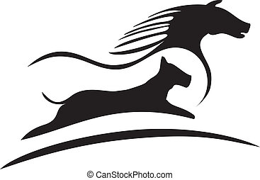 logo, cheval, silhouette, chien