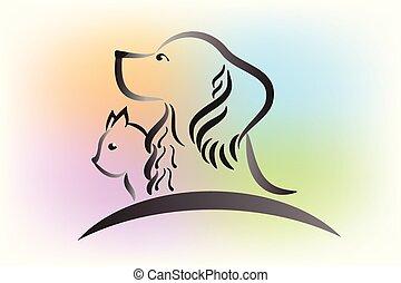 logo, chien, chat