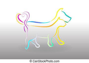 logo, chien, coloré, chat