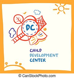 Logo child development center with earth, tree, book, goal on wh