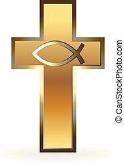 logo, chrétien, croix, or