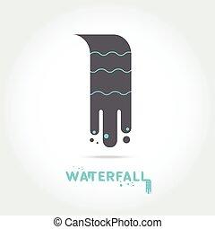 logo, chute eau, conception