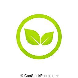 logo, cirkel, groene, concept., bladeren