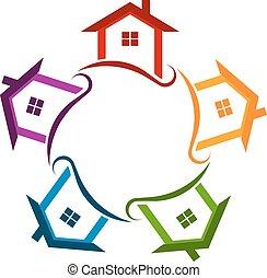 logo, cirkel, huisen