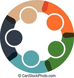 logo, cirkel, zakenlui