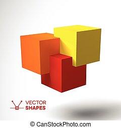 logo, clair, cubes, coloré, 3d