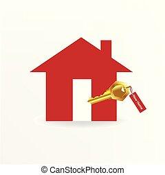 logo, clef or, maison