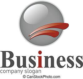 Logo modern 3d shape grey and red, vector illustration.
