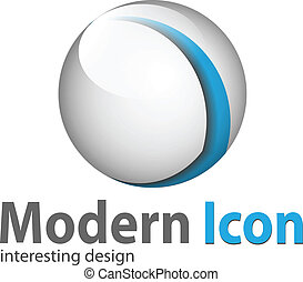 Logo 3d glossy sphere blue and white
