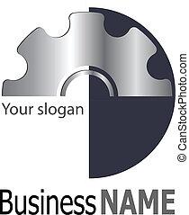 logo elegance silver and black gears, vector illustration.