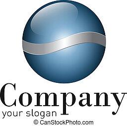 logo - Logo - glossy, blue ball with metallic elements