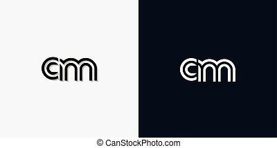logo., cm, carta, inicial, resumen, moderno
