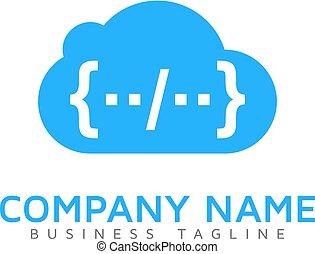 logo, code, conception, nuage, icône