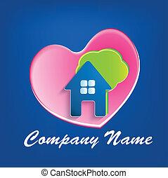 logo, coeur, maison, arbre