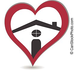 logo, coeur, maison