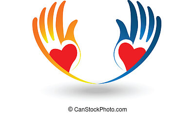 logo, coeur, vecteur, plein d'espoir, mains