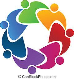 logo, collaboration, affaires gens