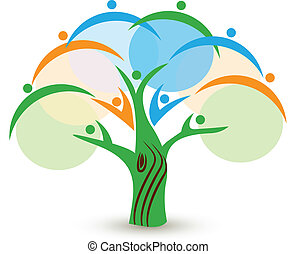 logo, collaboration, arbre, gens