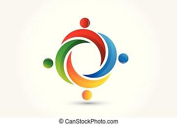 logo, collaboration, autour de, gens