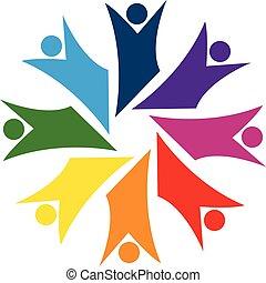 logo, collaboration, bonheur, business