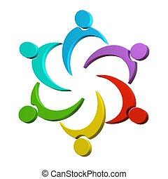 logo, collaboration, coloré, 3d