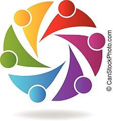 logo, collaboration, coloré, business