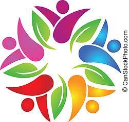 logo, collaboration, coloré, gens