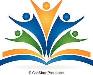 logo, collaboration, education, livre