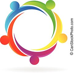 logo, collaboration, gens, étreinte