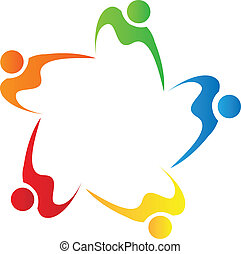 logo, collaboration, gens, diversité