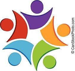 logo, collaboration, gens, icône