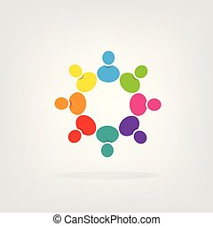 logo, collaboration, groupe, gens