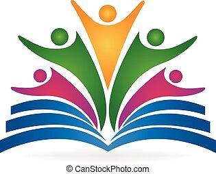 logo, collaboration, livre, education